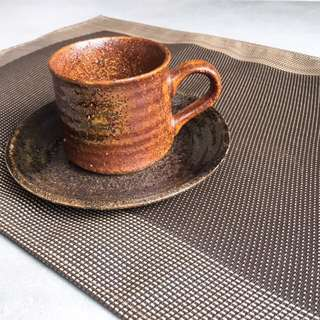 (Made in Japan) Small ceramic cup + saucer (dark brown)