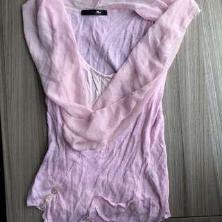 雪紡拼接背心(S適穿) 長䄂 短袖 長版T恤 毛料 毛衣 針織 洋裝
