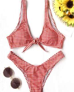 Tie-front Gingham Bikini (Red & White)
