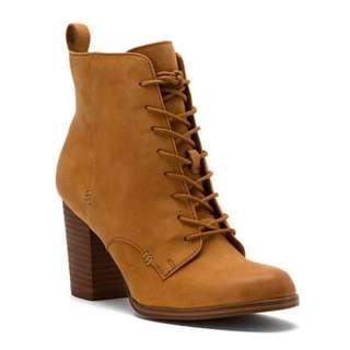 ALDO 真皮/短靴/踝靴/棕色/駝色/高根/粗根/鞋帶