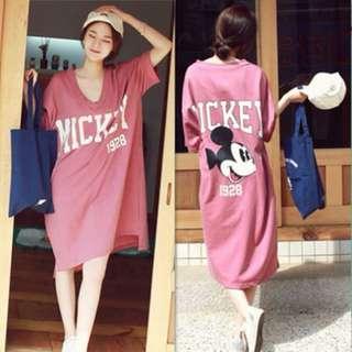 純棉V領米奇連衣裙