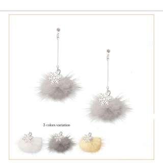 🐧日本可愛風雪花珍珠毛球長款耳環耳夾