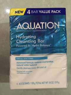 Aquation Hydrating Cleansing Bar Powered by hydrobalance 4-Bar Value Pack 4.5oz Bars/ 128g per bar