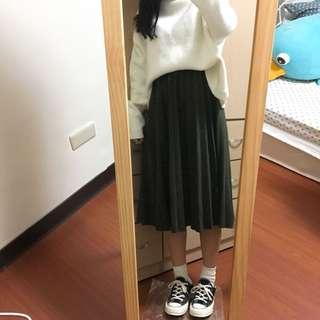 墨綠毛呢百褶裙