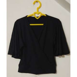 Black Overlap Blouse