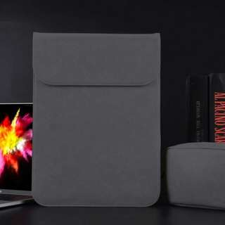 Dark grey PU Leather Macbook Laptop Sleeve with Extra Pocket + Matching Pouch