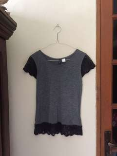 H&M grey top with lace details (atasan h&m lace)