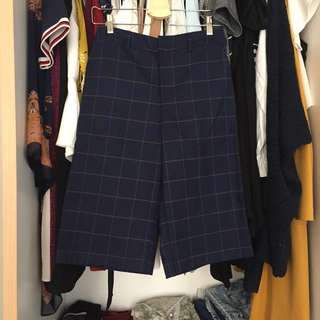 Checkered navy culotte