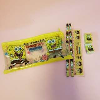 Cute Spongebob Squarepants stationery set / pencil case