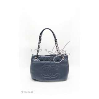 CHANEL A65484 藍色小牛皮車線CC Logo 肩背袋 購物袋 手袋