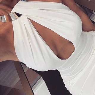 Goddess Plunging Bodycon Midi Dress