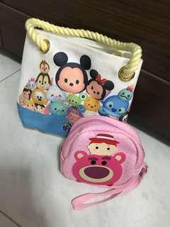 Tsum Tsum Pouch and sling bag bundle
