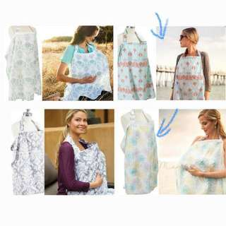 Breathable gauze nursing cover with boning and pouch for breastfeeding in public
