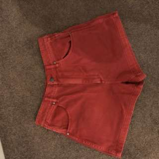 Vintage look red denim shorts wrangler