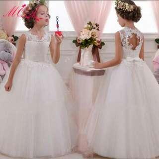 European Flower Girl Dress White Long Gown Dress