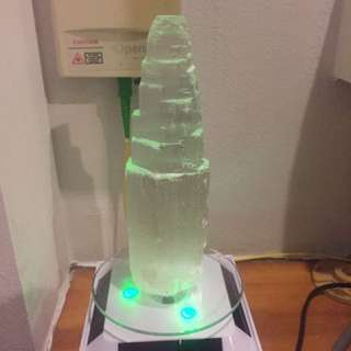 Selenite Tower w Lighted Rotating Stand
