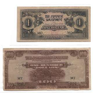 (LN 30)1942-45 Malaya Japanese Occupation $1 & $100 Dollars