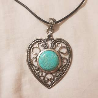 Blue stone heart necklace