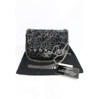 CHANEL A48870 水鑽 Multi-CC Logo 黑色Tweed絨 17 cm 銀鏈斜肩背袋 手袋