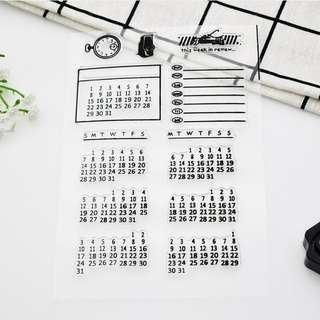 Calendar acrylic cling clear stamp for planners and journals