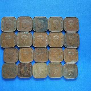 Old Strait settlement King George vi Coins Big /Small coin lot 20 pieces