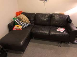 Real leather L sofa, super comfy