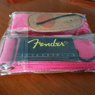 (LIMITED STOCK) FENDER WOVEN PINK GUITAR STRAP W/ LEATHERED ENDS
