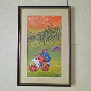 70s oil Painting on canvas frame size 91x31cm perfect condition