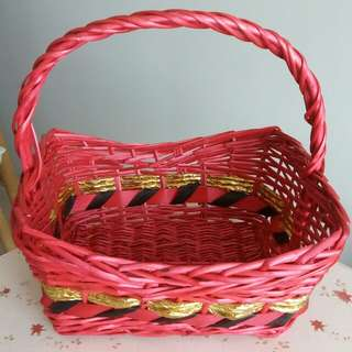 Hamper Basket (red with gold trimming)