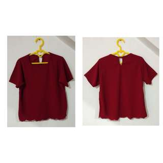 Red Scallop Blouse