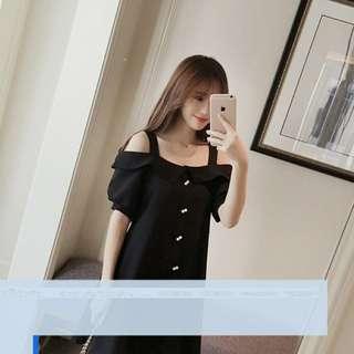 🚚 [新品轉賣]露肩黑色洋裝(完全沒穿過)