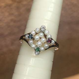 14kt diamond ruby sapphire emerald pearl ring