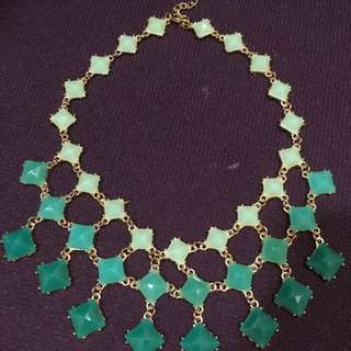 Emerald green choker waterfall necklace
