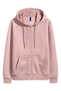 H&M Basics or Divided Zipped Hoodie in Dusty Rose