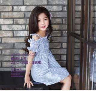 Korean Ulzzang: Stripe Ruffled Gingham Kids Off Shoulder Dress