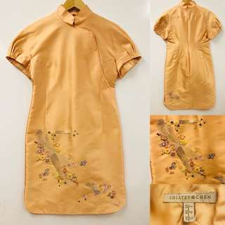 中式旗袍 Shiatzy Chen peach silk with emborderies dress size F 38