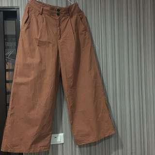 落地小開衩寬褲 磚橘色 M