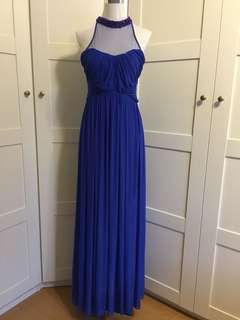 Evening Gown/ blue gown / blue maxi dress/ embellished gown/ tulle dress/ prom dress/ dnd/ wedding/ blue dress/ royal blue dress