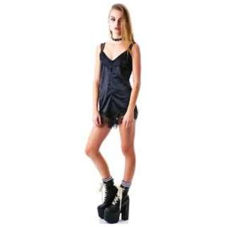 Unif Alexa romper black satin and lace size S fit 6, 8, 10