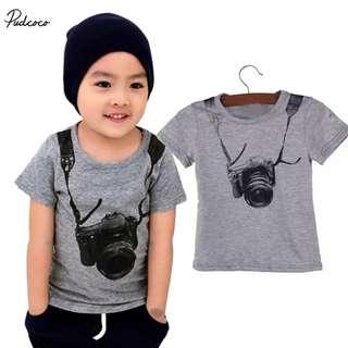 Baby Boy Fashion t-shirt Tops,1pcs Boys Casual Camara T-Shirtschildren's  cotton clothing tee-shirt for kids  1-8Y