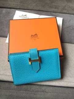 Hermes Wallet Bearn bleu (blue) compact wallet/card holder