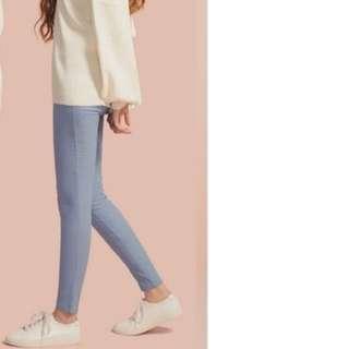 Pazzo 修身長褲-粉藍色