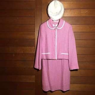 💎精選篇💎 粉紅佳人知識尤物 粉紅香奈兒感洋裝芭比娃娃系列套裝 奧黛麗赫本時代 粉千鳥格
