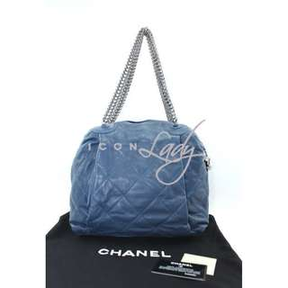 CHANEL A50655 藍色菱格紋小羊皮 仿古銀鏈 (小號) 購物袋 肩背袋 手袋