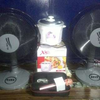 Rice cooker, microphone with Bluetooth, kipas, rak serbaguna, rak tepi & tilam single