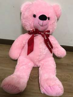 Stuffed pink bear I love you