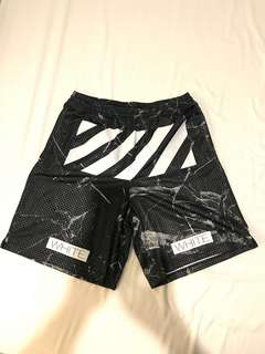 Off-White marble print shorts