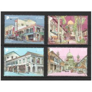 SINGAPORE 2018 AREAS OF HISTORICAL SIGNIFICANCE COMP. SET OF 4 STAMPS IN MINT MNH UNUSED CONDITION