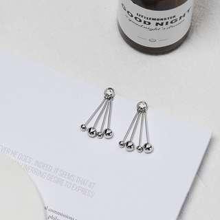 🎠銀色圓珠 流蘇耳環