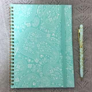 Typo notebook 薄荷綠筆記本-Aqua Lace